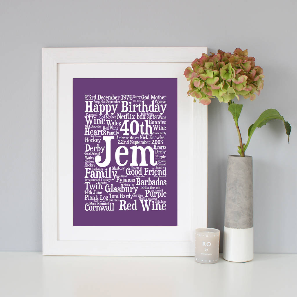 personalised 40th birthday word art gift by hope and love