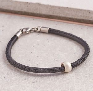 Men's Slim Silver And Leather Bracelet