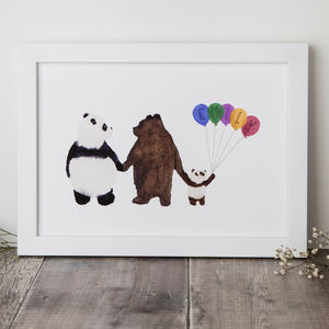Personalised Family Of Bears Print - children's room