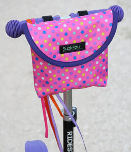 Child's Personalised Pink Spotty Scooter Or Bike Bag
