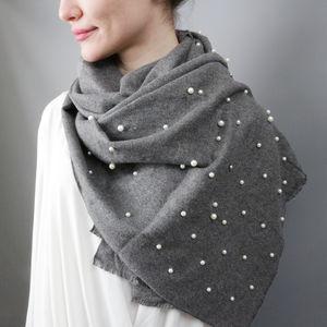 Gun Metal Pearl And Cashmere Shawl - gifts for grandparents