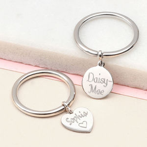 Personalised Sterling Silver Charm Name Ring