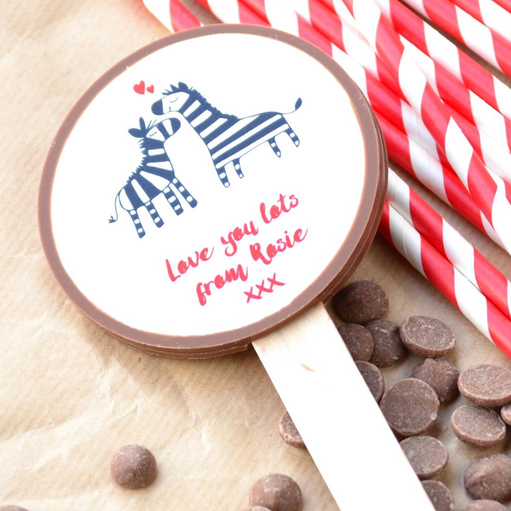 Personalised Valentine's Chocolate With Zebra Picture