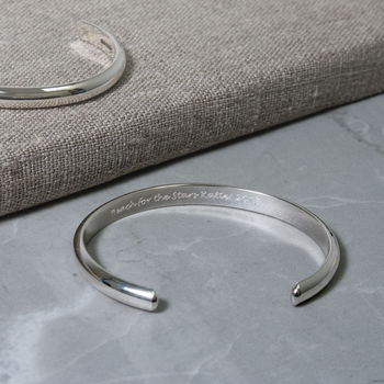 Ladies open silver bangle