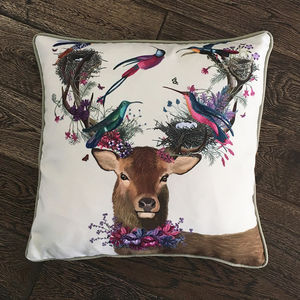 Deer And Tropical Birds Decorative Cushion