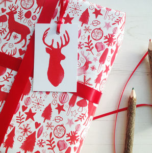 Christmas Scandinavian Stag Wrapping Paper Set - wrapping paper