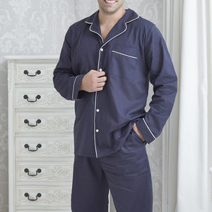 Men's Personalised Navy Cotton Pyjamas - nightwear