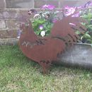 Rusted Metal Cockerel Silhouette Garden Ornament
