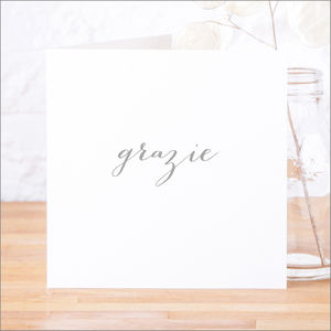Single Or Pack Of Italian 'Grazie' Thank You Cards - winter sale