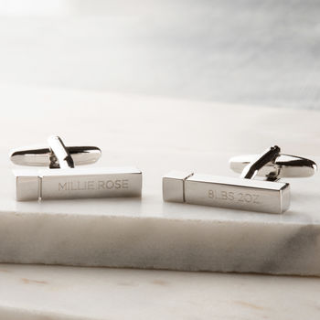 Personalised Engraved Bar New Baby Cufflinks