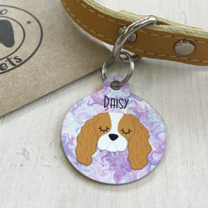 Personalised Dog Breed Name Tag Marbeled Swirls - winter sale