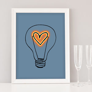 Romantic Heart Lightbulb Art Print - summer sale