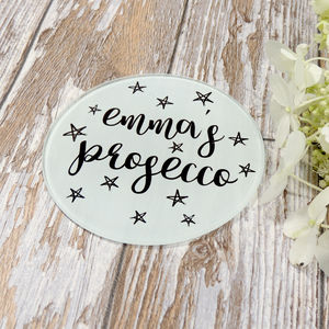 Personalised Name Prosecco Or Drink Glass Coaster - gifts for her