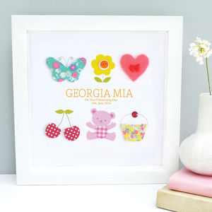 Personalised Baby Girl Christening Icon Artwork