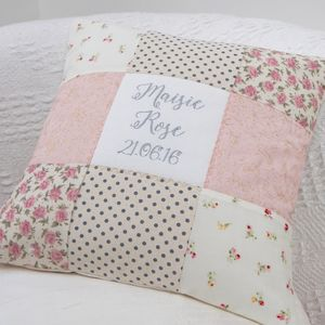 Personalised Sparkly Name And Date Cushion - children's room
