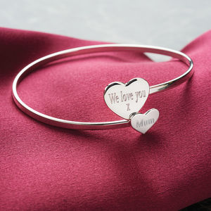 Personalised Sterling Silver Double Heart Bangle - gifts for mothers