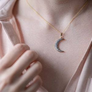 Pave Diamond Crescent Moon Gold Necklace