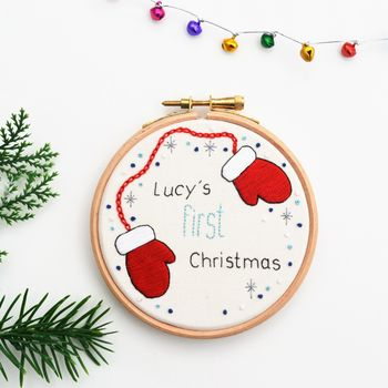 First Christmas Embroidery Hoop Art