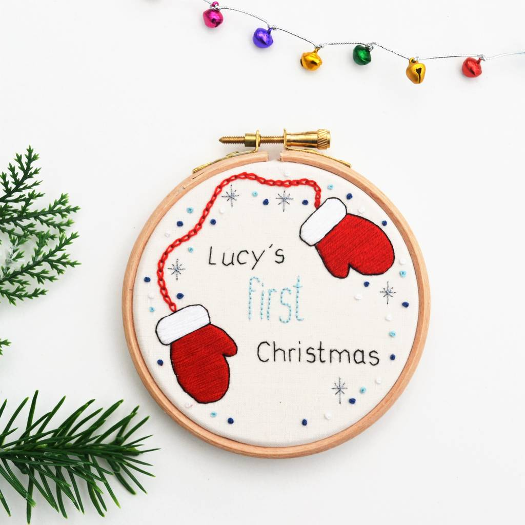 First Christmas Embroidery Hoop Art By Pixiecraft