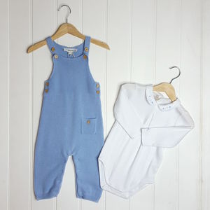 Baby Boy Blue Knitted Dungaree And Bodysuit Set