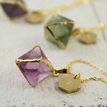 Personalised Geometric Gemstone Pendant Necklace