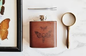 Moth Leather Flask - hip flasks