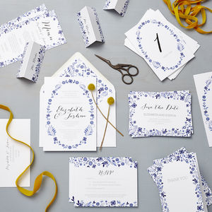 Danish Porcelain Wedding Stationery Sample Pack - save the date cards