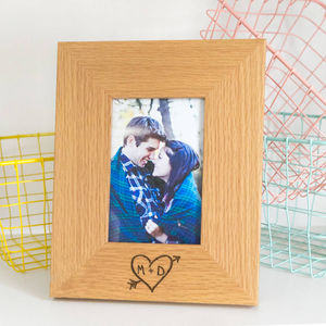 Personalised Carved Heart Oak Photo Frame - more