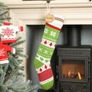 Personalised Nordic Green Knit Christmas Stocking