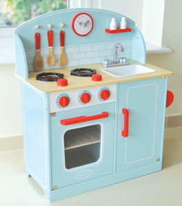 Wooden Retro Kitchen Play Scene - pretend play & dressing up