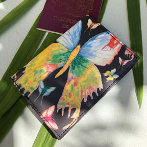 Folk Butterflies Leather Passport Case