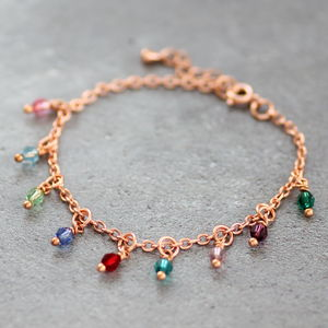 Rose Gold Family Birthstone Charm Bracelet - new in jewellery