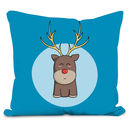 Cute Reindeer Christmas Velour Throw Cushion