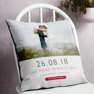Personalised Wedding Date And Location Photo Cushion - best wedding gifts
