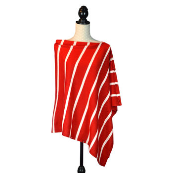 Red Striped Cashmere Blend Button Travel Wrap