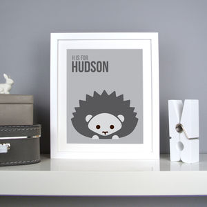 Personalised Hedgehog Nursery Print