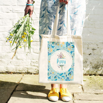 Personalised Wildflower Wedding Tote Bag