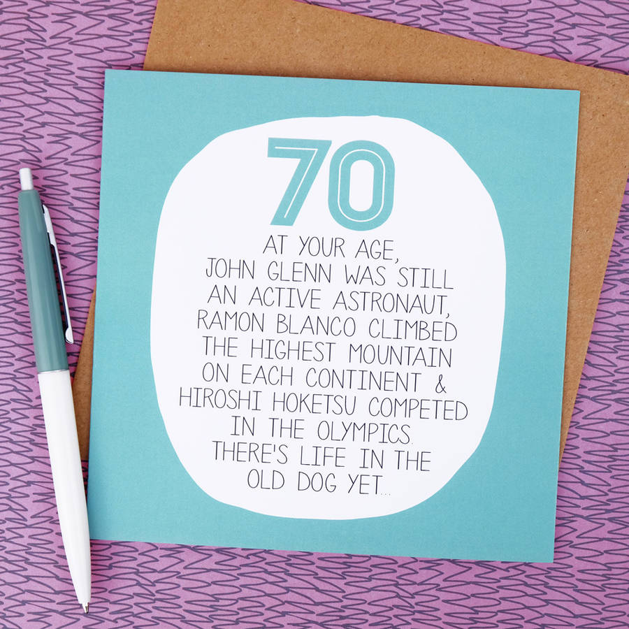 By Your Age Funny 70th Birthday Card Paper Plane