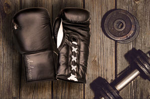Personalised Premium Leather Boxing Gloves Black - new in home