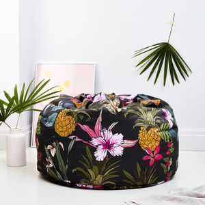 Tropical Flamingo Print Adult Bean Bag Dark - cushions