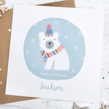 Personalised Sparkly Polar Bear Christmas Card