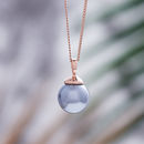 Rose Gold Pearl Necklace - Soft Grey Swarovski Pearl