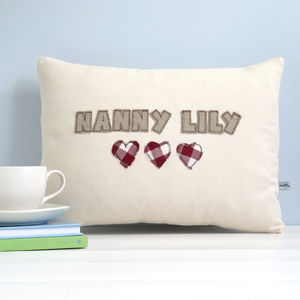 Personalised Name Cushion With Hearts - cushions