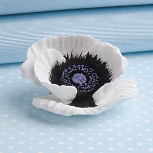 Large White Peace Poppy Brooch