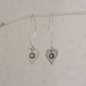 Daisy Heart Silver Earrings - earrings