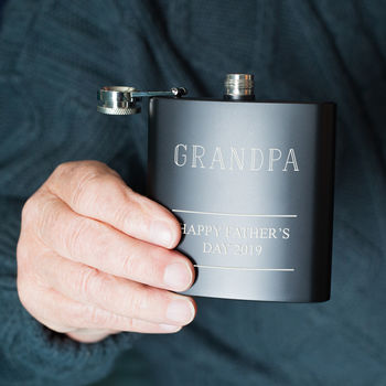 Grandad Personalised Message Hip Flask