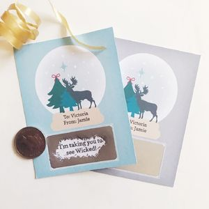 Personalised Snowglobe Christmas Scratch Card - christmas cards