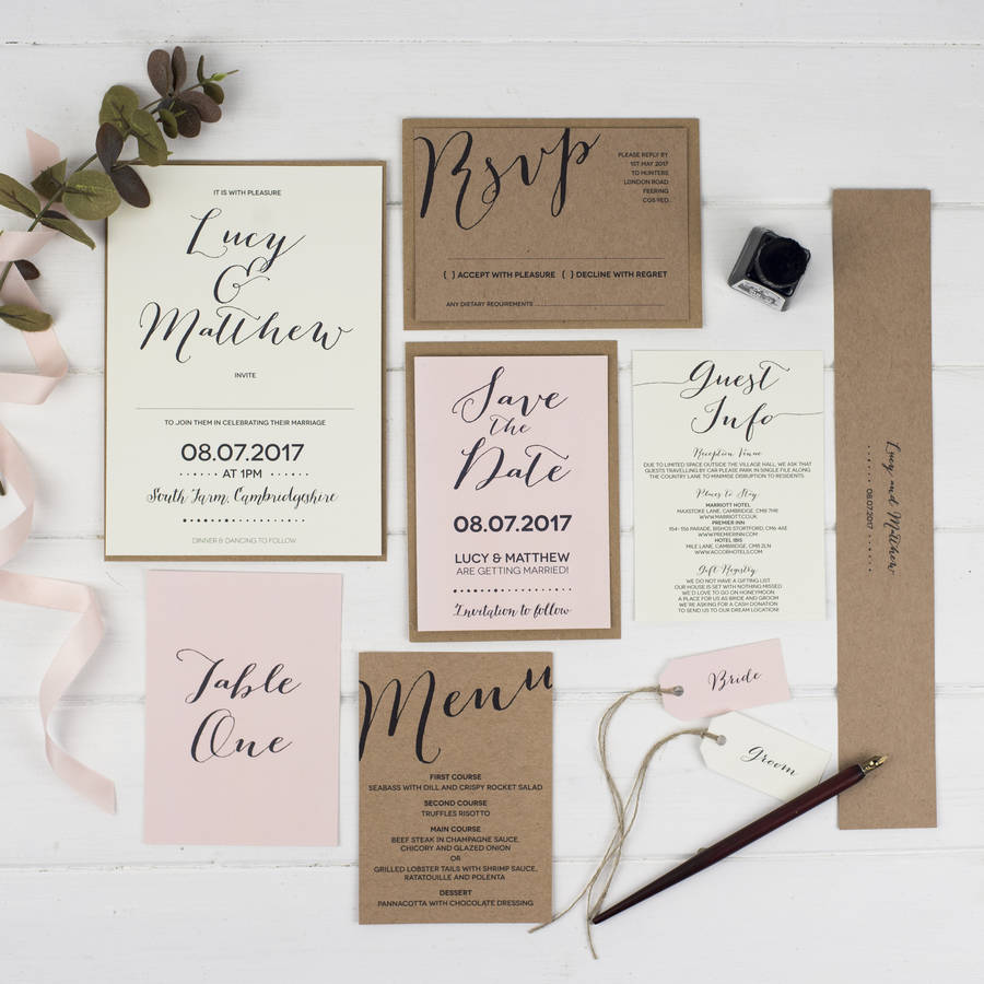 Modern Calligraphy Wedding Place Cards By Russet And Gray