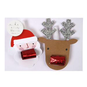 Santa And Reindeer Party Blowers Set Of Four