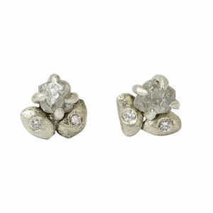Claw Set Rough Diamond Stud Earrings, White Gold